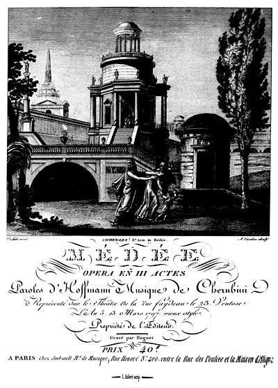Title page of the first edition of the full score of Medee by Cherubini, 1797 Medea Cherubini titelblad.jpg