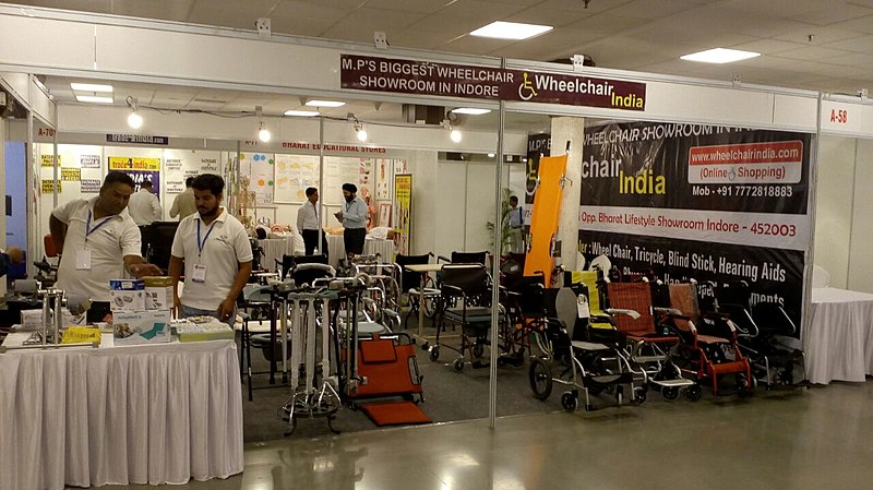File:Medical Expro 2018 wheelchair India Stall.jpg