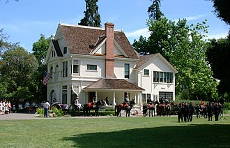 Ardenwood Historic Farm - A view of the Patterson House during a Civil War demonstration during Memorial Day 2003