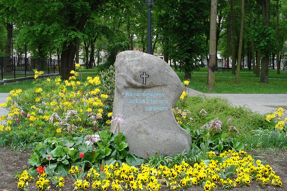Memorial stone to victims of the red terror in Daugavpils