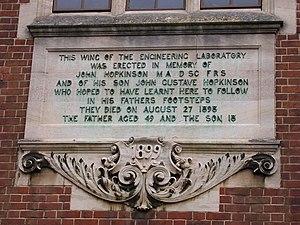 John Hopkinson - Memorial plaque at Cambridge