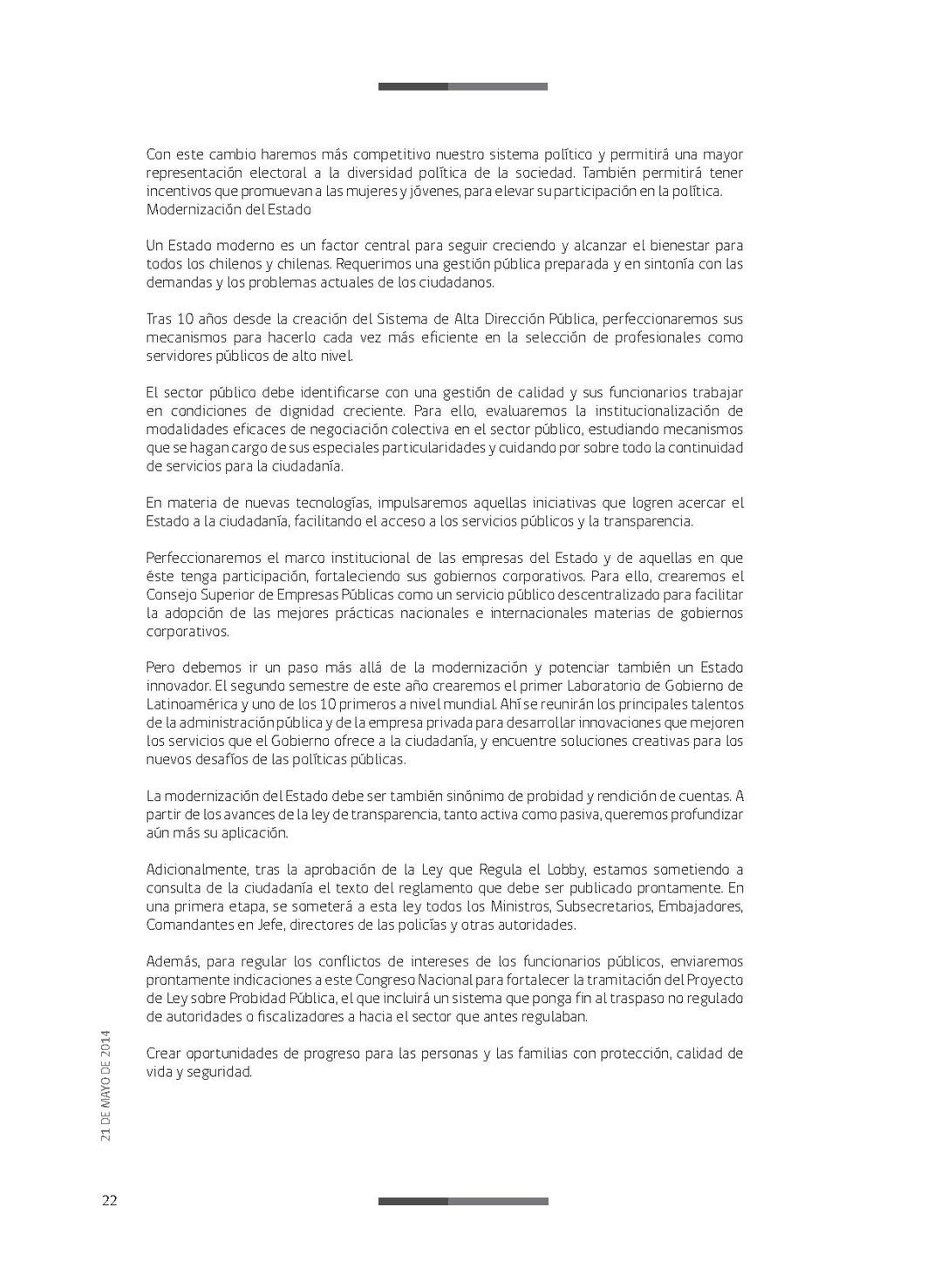 Página:Mensaje Presidencial 21 de Mayo de 2014.pdf/22 - Wikisource