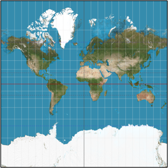 Transverse Mercator projection - Spherical Normal (equatorial) Mercator (truncated at y = ±π, corresponding to approximately 85 degrees).