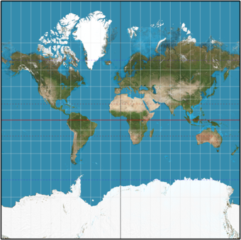 Spherical Normal (equatorial) Mercator (truncated at y = +-p, corresponding to approximately 85 degrees). MercNormSph.png