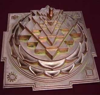 Shri Vidya - The Sri Yantra (shown here in the three-dimensional projection known as Sri Meru Chakra or Maha Meru used mainly in rituals of the Srividya Shakta sects) is central to most Tantric forms of Shaktism.