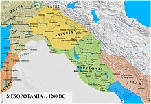 Map of Mesopotamia c. 1250 BC