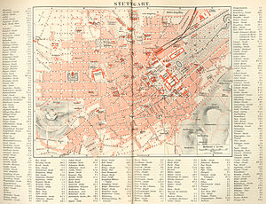 Stuttgart - Map of Stuttgart, 1888