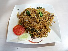 A plate of fried noodles