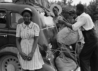 Migrant worker - Group of Florida migrants near Shawboro, North Carolina on their way to Cranbury, New Jersey, to pick potatoes