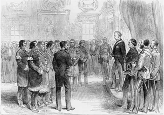 John Campbell, 9th Duke of Argyll - Mi'kmaq Grand Chief Jacques-Pierre Peminuit Paul (3rd from left with beard) meets Governor General of Canada, Lord Lorne, Red Chamber, Province House, Halifax, Nova Scotia, 1879