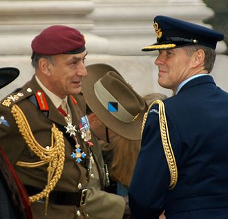 Mike Jackson (British Army officer) - Jackson (left) in conversation with a Royal Australian Air Force officer at the Cenotaph in London on Remembrance Day 2003