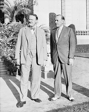 Oliver Lyttelton, 1st Viscount Chandos - Oliver Lyttelton (right) with Sir Miles Lampson at the British Embassy in Cairo in 1941.