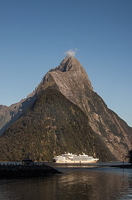 Milford Sound, 2016-01-31, Mitre Peak from the port.jpg