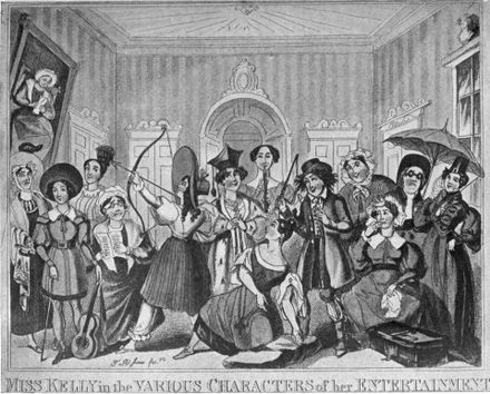 "Fanny Kelly ""Entertains"" from ""The Works of Charles Lamb"". The original caption said ""Mr Lamb having taken the liberty of addressing a slight compliment to Miss Kelly in his first volume, respectfully requests her acceptance of the collection. 7 June 1818."" Miss Kelly Entertains.jpg"
