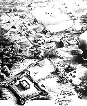 Tallahassee, Florida - The Mission San Luis de Apalachee as it may have appeared in the 17th century