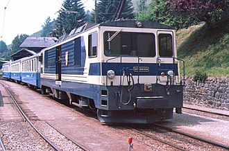 Montreux Oberland Bernois Railway - MOB train at Les Avants on 11 July 1985.