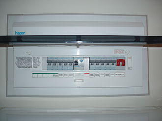 Consumer unit - Hager consumer unit fitted with MCBs, one RCD, and one double-pole switch