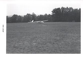 Schreder Airmate HP-8 - George B. Moffat, Jr. lands his HP-8 sailplane at Harris Hill, NY in July, 1963 at the 30th US National Soaring Championships.