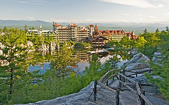 National Historic Landmark - Mohonk Mountain House, a resort hotel on Shawangunk Ridge; site of 1895–1916 conference that led to establishment of Permanent Court of Arbitration at The Hague