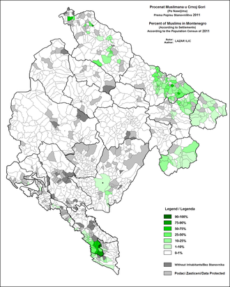 Muslims (ethnic group) - Ethnic Muslims in Montenegro, according to latest (2011) census