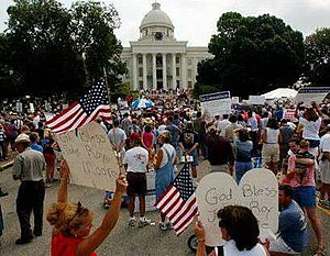 Roy Moore - Rally before the Alabama State Capitol, August 16, 2003.