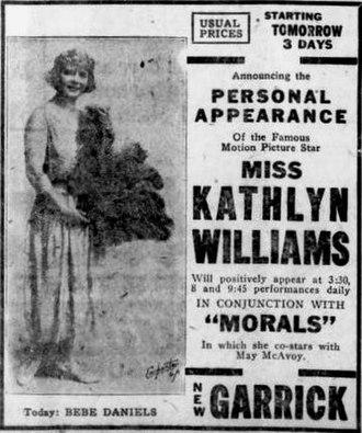 Morals (film) - Newspaper ad noting appearance by Kathlyn Williams before each screening