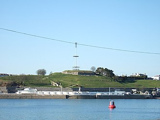 Devonport, Plymouth - Mount Wise: the modern viewing platform and mast atop the old redoubt