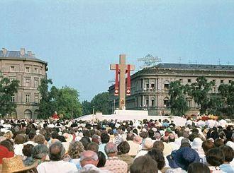 Piłsudski Square - Piłsudski Square (then Victory Square) during Pope John PaulII visit to Warsaw; Holy Mass, 1979