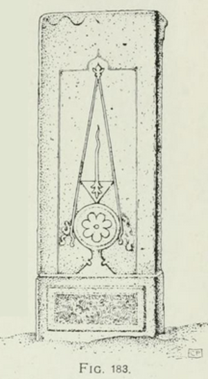 The Tombstones of Ahlat the Urartian and Ottoman citadel - Drawing of a tombstone in Ahlat