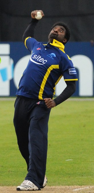 Muttiah Muralitharan - Muralitharan bowling for Gloucestershire in 2011.