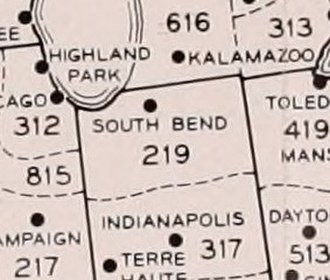 Area code 219 - The original area code 219, as of 1952.