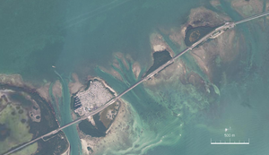 Satellitenbild von Ohio Key, Missouri Key und Little Duck Key (von West nach Ost). Links unten Bahia Honda Key (Teil).