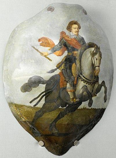 NG-NM-2970 Schild van een schildpad beschilderd met een portret van Frederik Hendrik (1584-1647), prins van Oranje, te paard