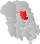 Locator map showing Hjartdal within Telemark