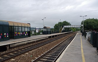 Nailsea and Backwell railway station - Looking east along the platforms.