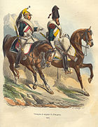 Color print of two cavalrymen riding brown horses. Both dragoons wear white gloves and dark green coats open in front to show a white waistcoat. The trooper on the right has a bearskin hat, gray breeches, and orange-yellow regimental facings; the one on the left sports a brass dragoon helmet, white breeches, and madder red facings.