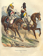 Colored print shows mounted dragoon and mounted sapper by Bellange.
