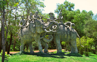 Single combat - The Jan. 1593 single combat, using war elephants, between Siamese King Naresuan and the Burmese crown prince Mingyi Swa – still celebrated in Thai history (statue in Samut Prakan Province, Thailand).