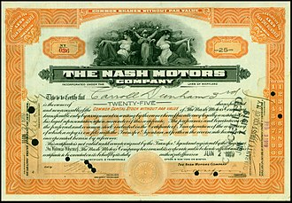 Nash Motors - Share of the Nash Motors Company, issued 2. June 1919