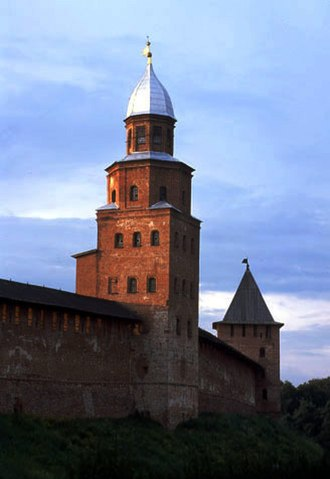 Novgorod Republic - Medieval walls of the Novgorod Kremlin from the late 15th century. The Kokui tower (left) dates from the 17th century; its name is of Swedish origin.
