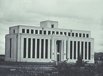 National Library of Australia - The original National Library building on Kings Avenue, Canberra, was designed by Edward Henderson. Originally intended to be several wings, only one wing was completed and was demolished in 1968. Now the site of the Edmund Barton Building.