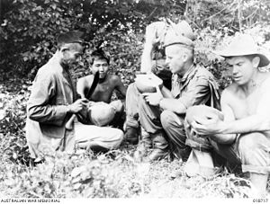 Indonesians in Malaysia - Native Indonesians in Labuan Island, British Borneo (present-day Malaysia) serving coconut water to Australian troops as a gratitude during the Battle of Labuan to recapture the island from the Japanese.
