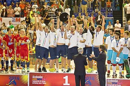 Italy national roller hockey team, winner at the 2014 CERH Championship in Alcobendas, Spain.