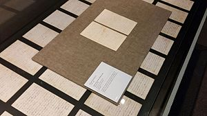 Jerilderie Letter - Some of the 56 pages comprising the Jerilderie Letter, on display in the State Library of Victoria