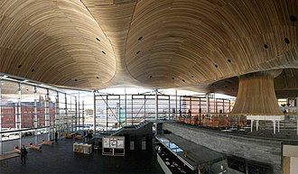 Senedd - The Neuadd (left) and the Oriel (right) on the upper floor