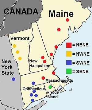 New England English - Image: New England English map