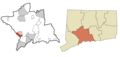 New Haven County Connecticut Incorporated and Unincorporated areas Derby Highlighted.png