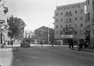 Zion Square - Zion Cinema, also called Zion Hall (right), early 1940s.