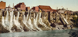 Niagara Falls, New York - The Niagara Falls mill district downriver from the American Falls, 1900.