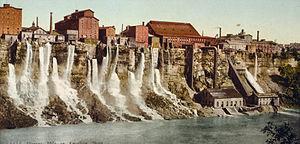 Niagara Falls, New York - The Niagara Falls mill district downriver from the American Falls, 1900.